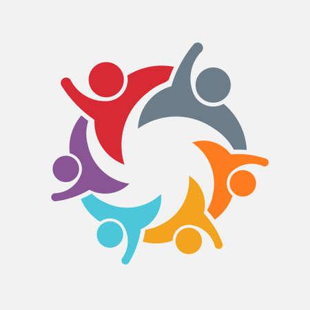 apoyo familiar: Somos una familia de 6. Padres y niños. Logo vector Vectores