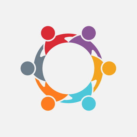 People group graphic in circle. Vector design