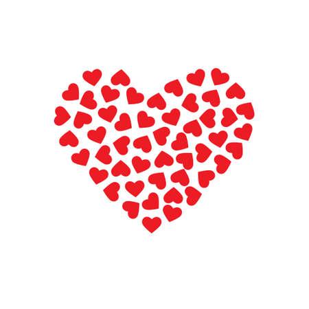 corazon: Modelo de los corazones que forman un corazón grande. Vector de diseño gráfico Vectores