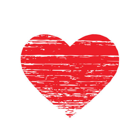 splatter paint: Scrached REd heart. Vector graphic Illustration