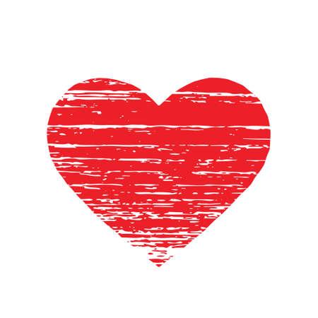 Scrached rood hart. vector grafische Vector Illustratie
