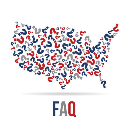 red white blue: Frequently Asked Questions USA map. Vector design Illustration