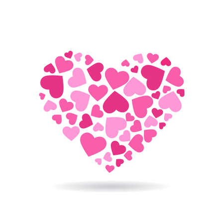 lightweight ornaments: Love hearts doing a big heart.  Vector   design