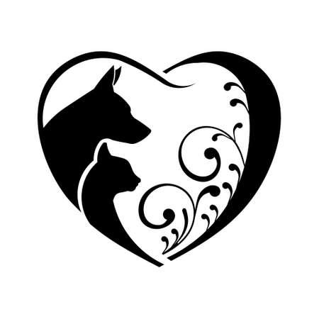 개와 고양이의 사랑의 마음입니다. 벡터 그래픽