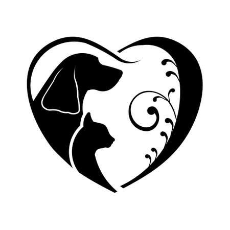 Perro y gato del corazón del amor. gráfico vectorial