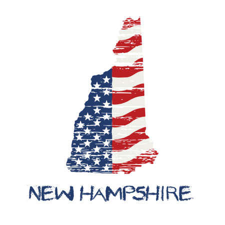 primaries: American flag in new hampshire map. Vector grunge style