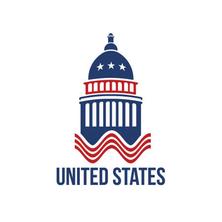 washington: United States Capitol building logo in red white and blue Illustration