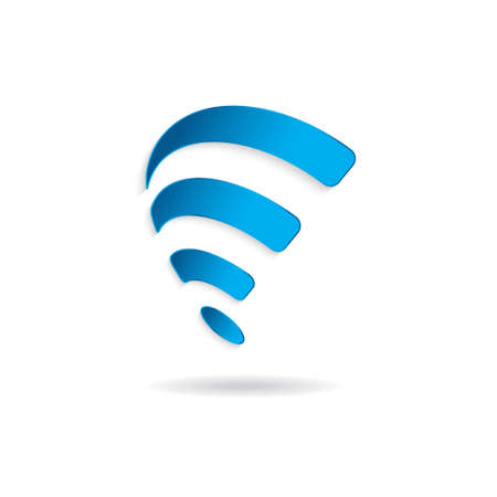blue lines: Wireless wifi swoosh symbol. Vector graphic