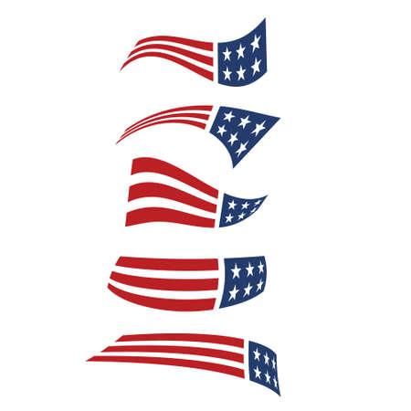 primaries: American flying flag logos. Vector design