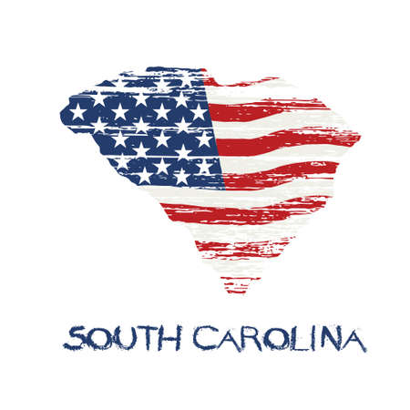 American flag in South Carolina map. Vector grunge style Illustration