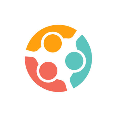 human relationships: Team of three people logo. Concept of people group  meeting collaboration and great work.