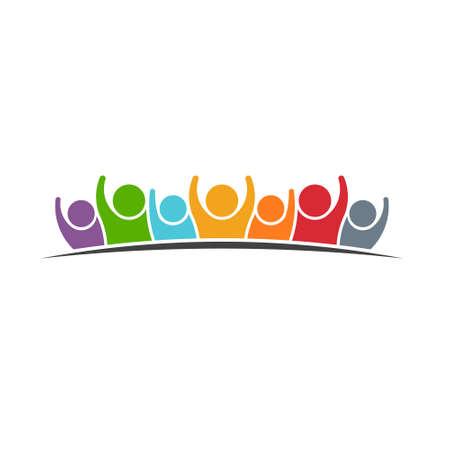 人々 のグループのロゴ  イラスト・ベクター素材