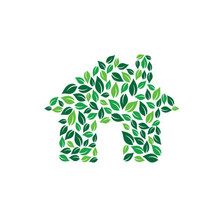 Eco maison verte logo. Vector design graphique Banque d'images - 52631676