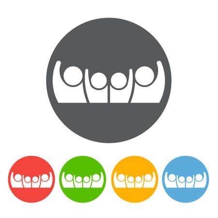 User button icon. Four Person symbol. Winner concept. Vector graphic