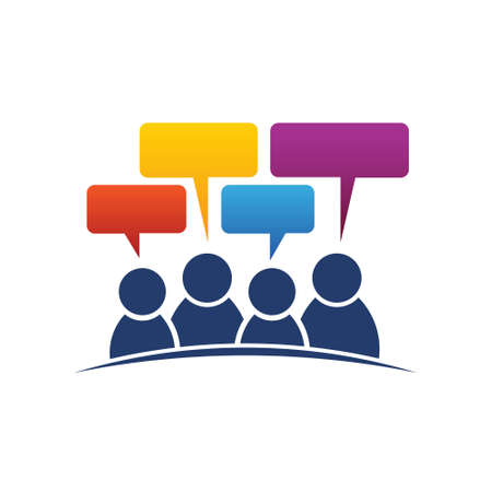 People group of four speeches. Vector graphic