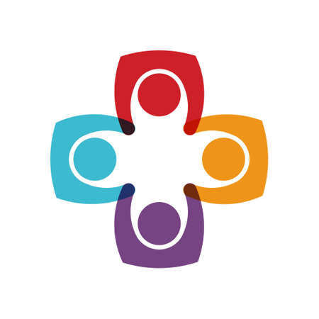 media network: Social media network Four Persons circle union. Vector graphic