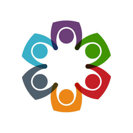 six persons: Social media network Six Persons circle union. Vector graphic