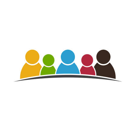 Teamwork People Group of five . Vector graphic design