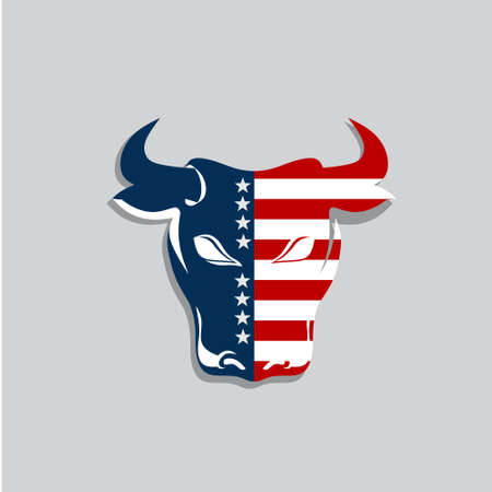 USA bull with stars and stripes. Vector graphic design