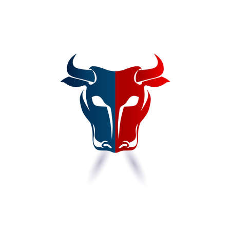 Red and Blue Bull Head. Vector graphic design