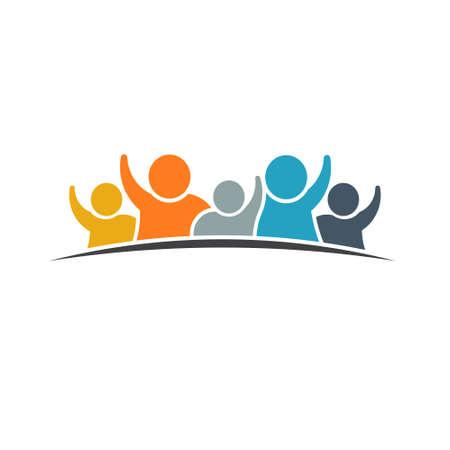 Happy family logo. VEctor graphic design