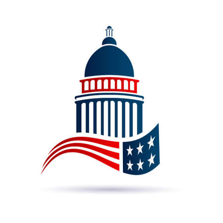 Capitol building  with american flag. Vector design