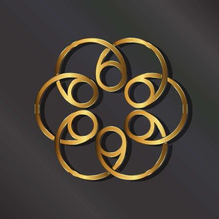 Golden rosette . graphic design illustration