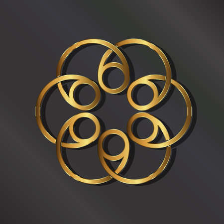 Golden rosette . graphic design illustration