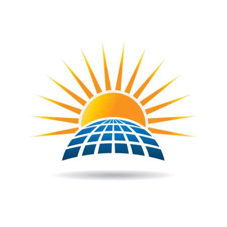 radiacion solar: panel de energía solar fotovoltaica. diseño gráfico Vectores