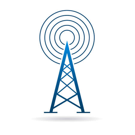 Antenna tower with waves graphic design illustration