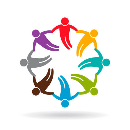 happy people: Social Network circle 8 people group graphic design illustration