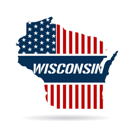 Wisconsin patriotic map graphic design illustration