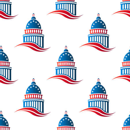 the white house: Patriotic Capitol building seamless pattern background. Vector graphic design illustration