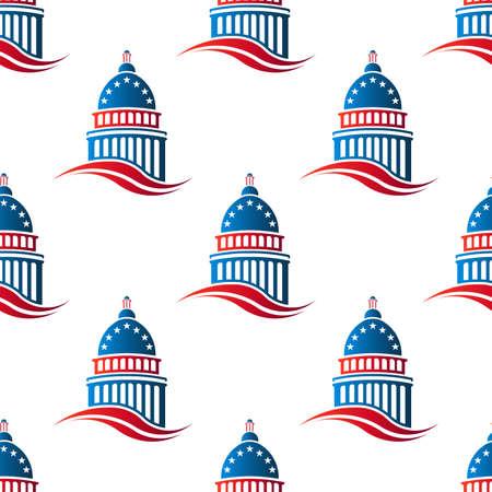 Patriotic Capitol Hintergrund nahtlose Muster zu bauen. Vektor-Grafik-Design, Illustration