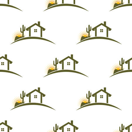 dry grass: Desert home seamless pattern background. Vector graphic illustration Illustration