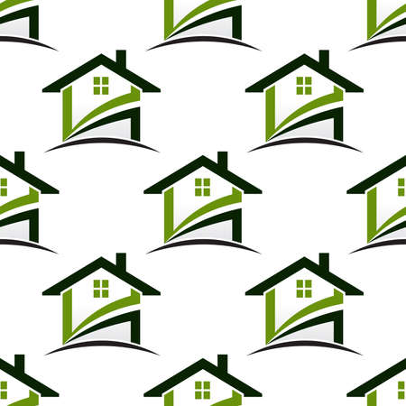 text room: House real estate seamless pattern background.Vector graphic illustration
