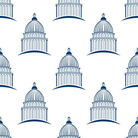 senate: Capitol building seamless pattern background. Vector graphic design illustration Illustration