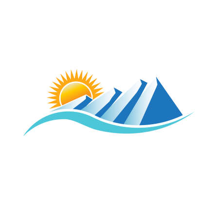 sunny: Mountains sunny logo. Vector graphic design Illustration