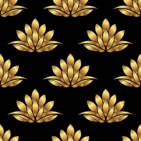 황금 로터스 꽃 패턴 배경입니다. 벡터 그래픽 디자인