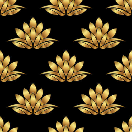 fortune flower: Golden Lotus flower pattern background. Vector graphic design Illustration