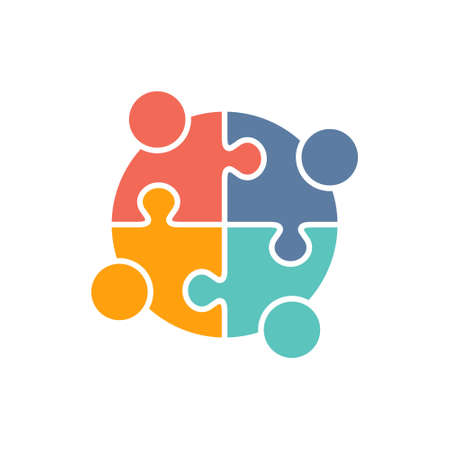 Teamwork People puzzle pieces. Vector graphic design illustration