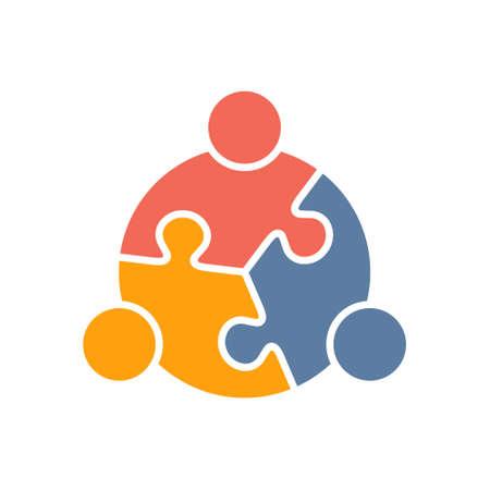 Lavoro di squadra Persone di puzzle tre pezzi. Vector graphic design illustrazione
