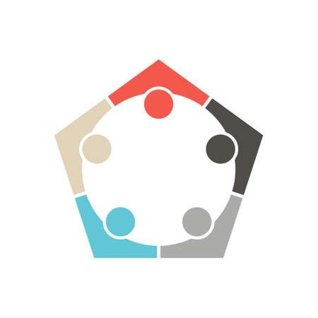 pentagon: People Group Pentagon Team Logo. Vector graphic design illustration Illustration