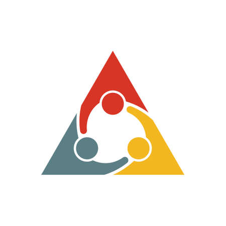 teaming: People Group Teaming Logo. Vector graphic design illustration