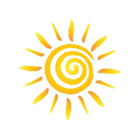 shinny: Hand drawn spiral shinny sun. Illustration