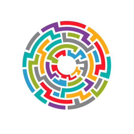 Colorful maze circuit. 向量圖像