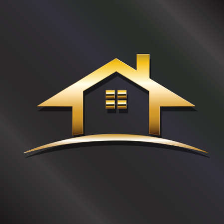 best security: Golden house real estate icon