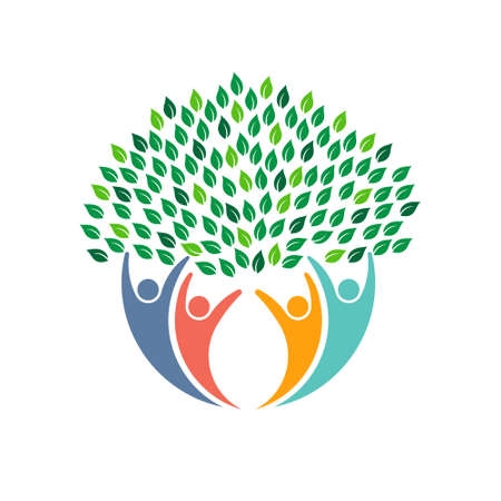 energies: Environmental tree people icon Illustration