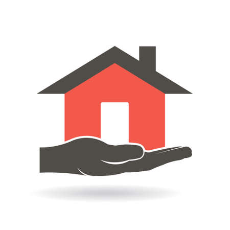House in hand graphic design