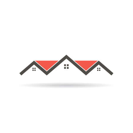 single dwellings: Red roof houses building graphic illustration